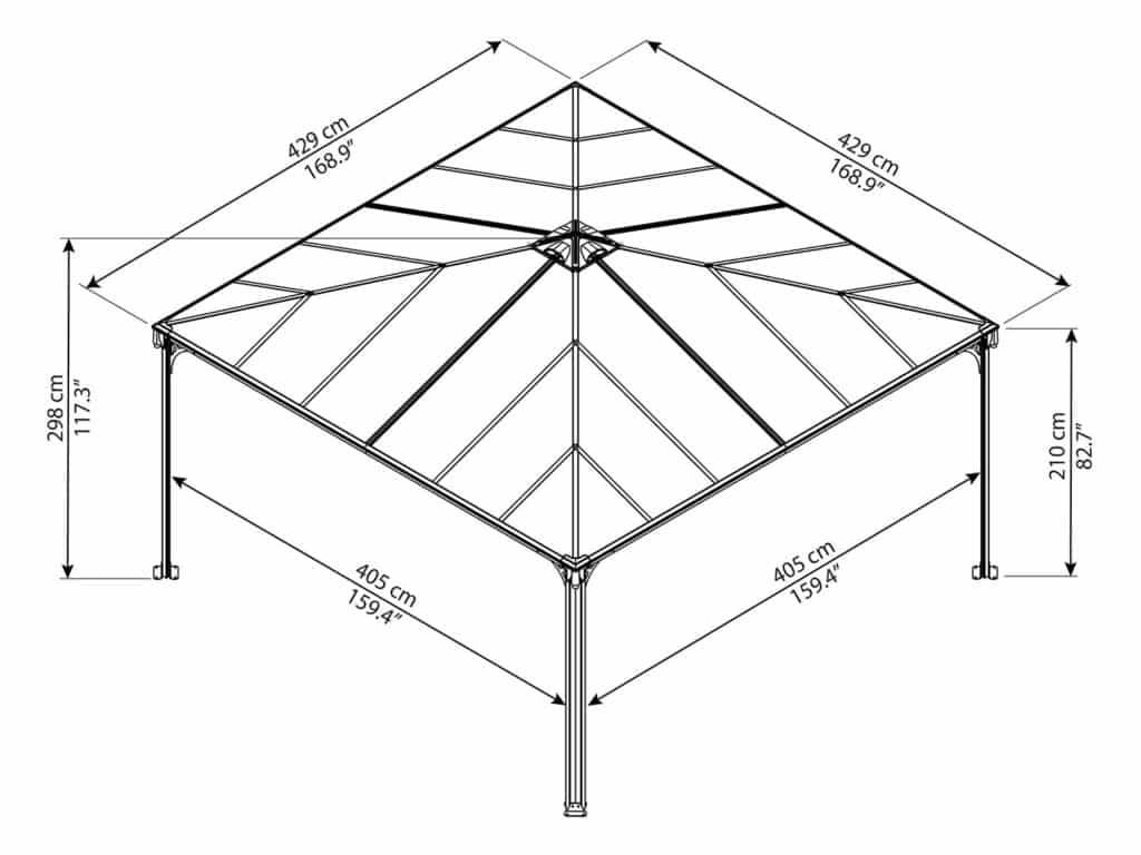 Målsatt tegning - Palram helårspaviljong - 4,3x4,3 meter - grå