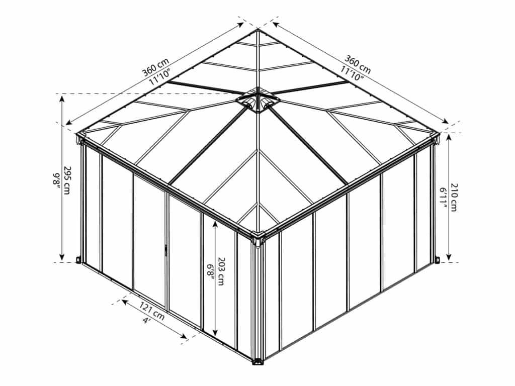 Målsatt tegning - Palram helårspaviljong - 3,6x3,6 meter
