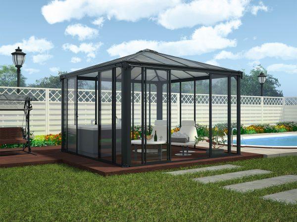 Helårspaviljong med vegger og skyvedører - 3,6x3,6 meter - PALRAM Applications