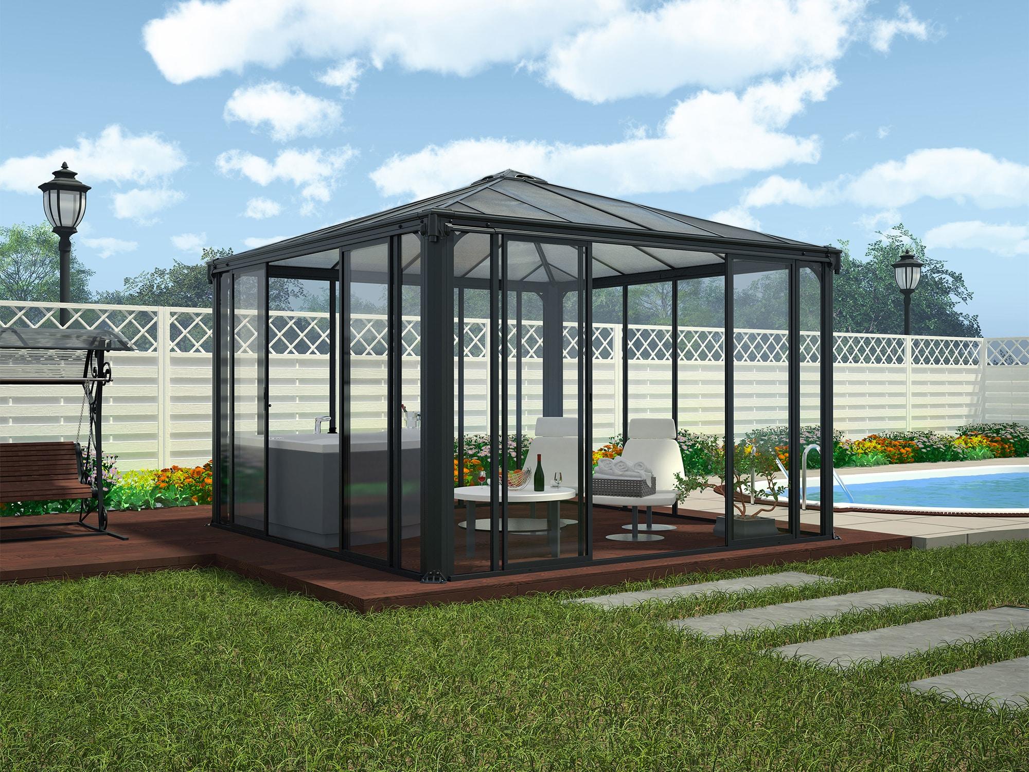 Hagestue i antrasittgrå, 3,6x3,6 meter, LEDRO™ 3600 PALRAM