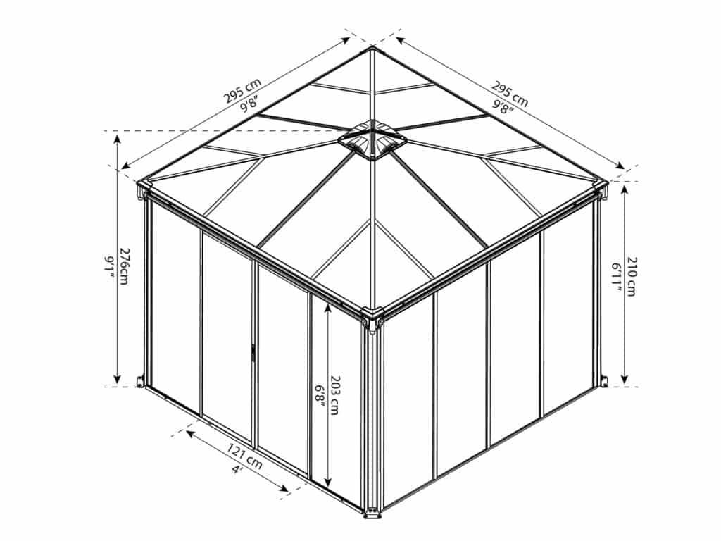 Målsatt tegning - Palram helårspaviljong - 3x3m