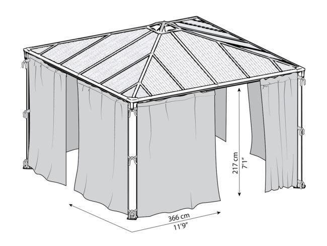 Målsatt tegning - Gardinsett til PALRAM helårspaviljong (3,6x3,6 meter)