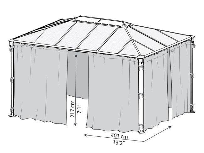 Målsatt tegning - Gardinsett til PALRAM helårspaviljong (4,3x3 meter)