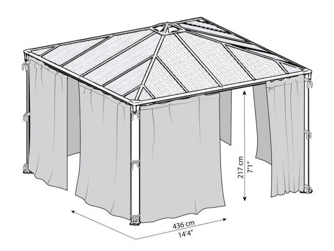 Målsatt tegning - Gardinsett til PALRAM helårspaviljong (4,3x4,3 meter)