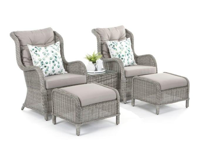 Produktbilde Hagesett med 2 stoler fothvilere og sidebord
