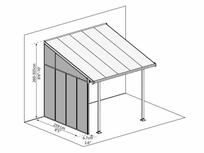 Sidevegg til PALRAM terrassetak - 3m - Dimensions