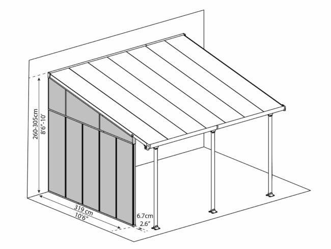 Sidevegg til PALRAM terrassetak - 4m - Dimensions