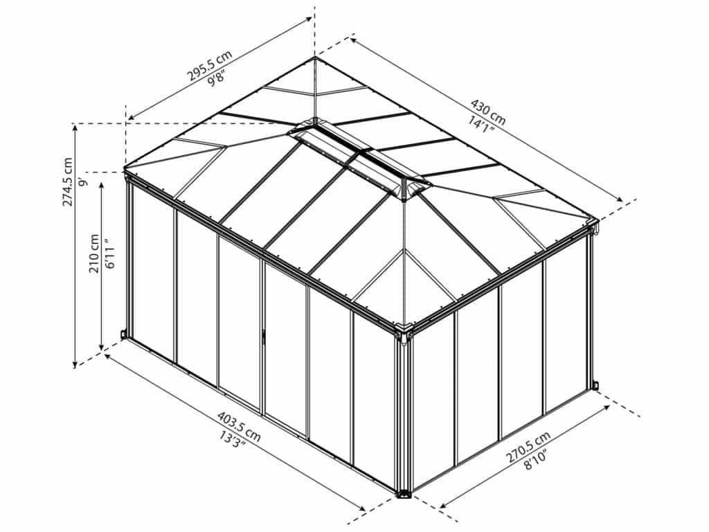 Målsatt tegning - Palram helårspaviljong - 4_3x3 meter