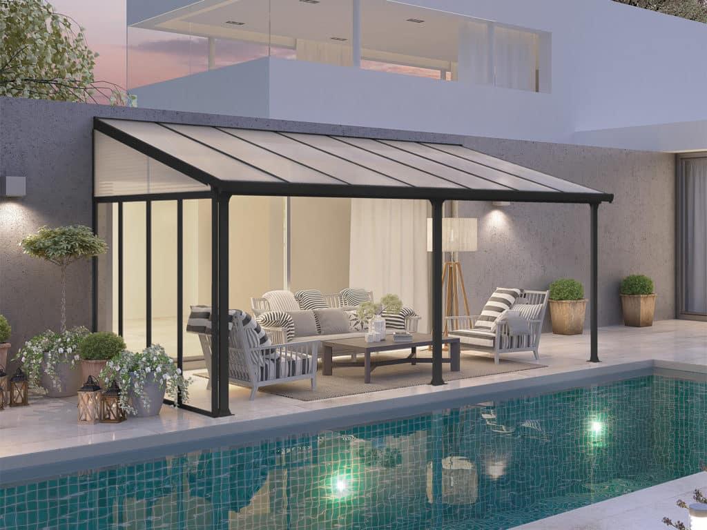 Palram terrassetak med sidevegg - 3x425 - Grå