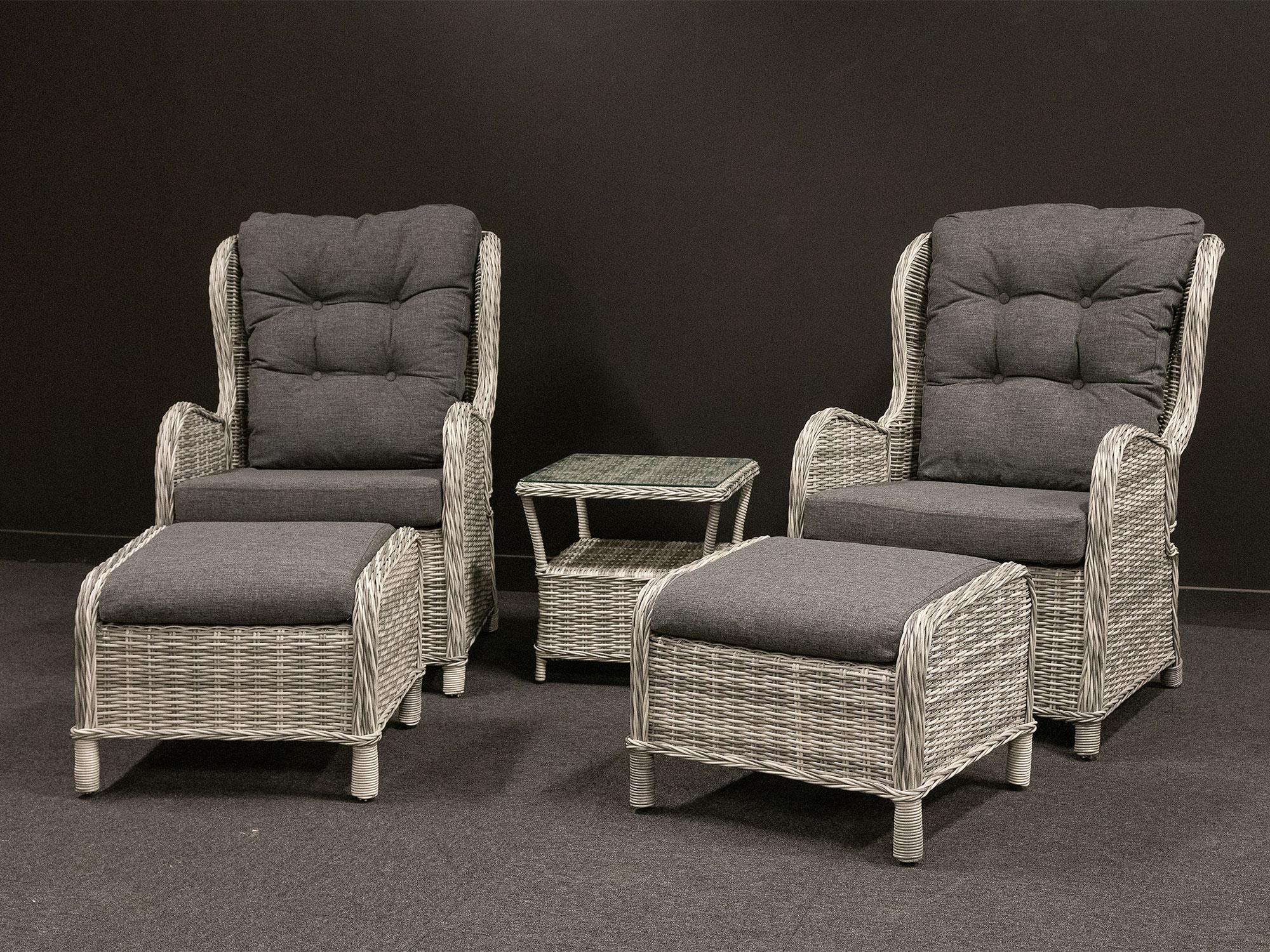 Produktbilde - Amalie hagesett med 2 stoler fothvilere og sidebord