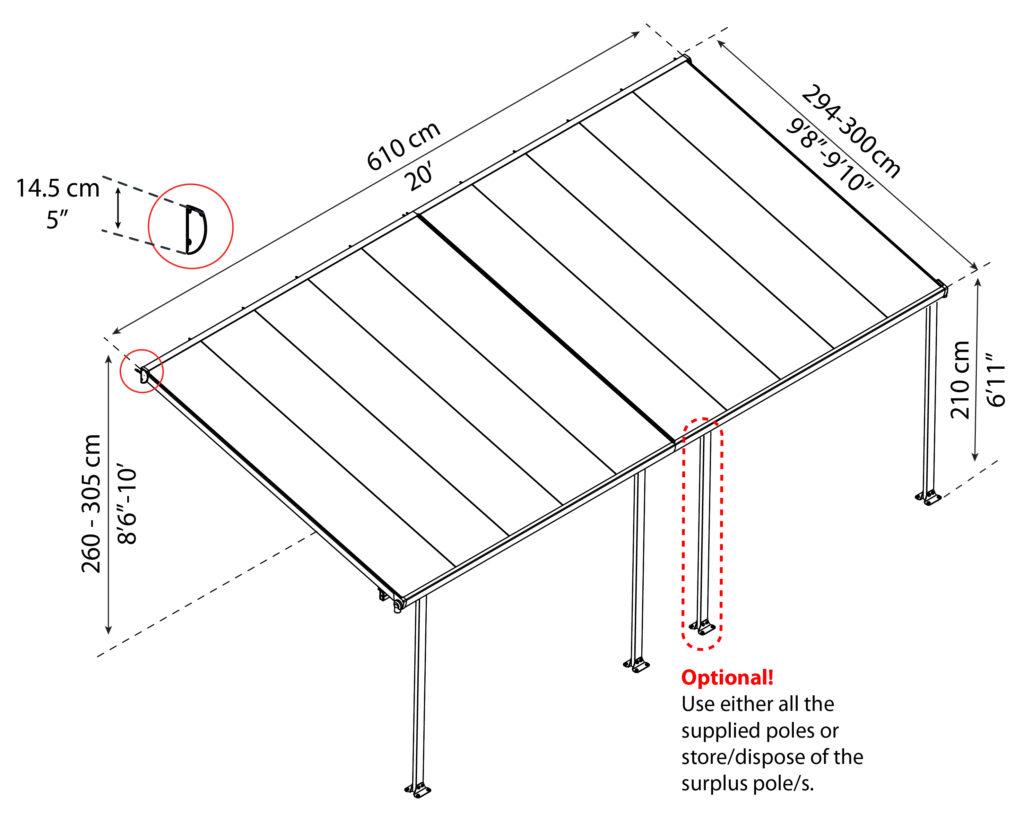 Målsatt tegning, FERIA™ 3x6,10 meter