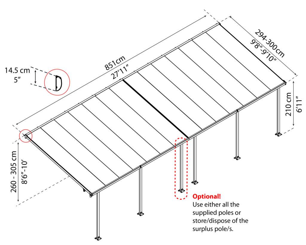 Målsatt tegning, FERIA™ 3x8,50 meter