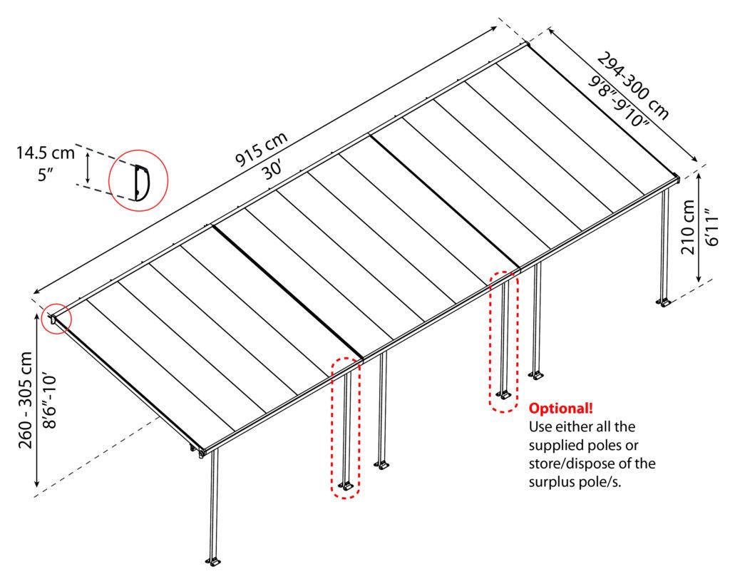 Målsatt tegning, FERIA™ 3x9,15 meter