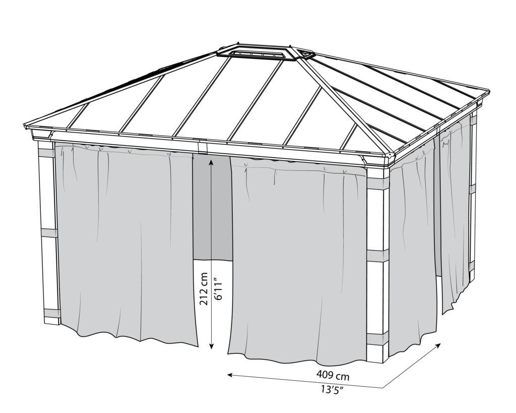 Målsatt tegning - Gardinsett til PALRAM DALLAS 4300 (4,3x3,7 meter)