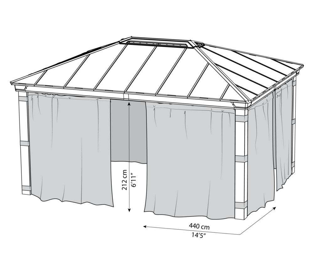 Målsatt tegning - Gardinsett til PALRAM DALLAS 4900 (4,9x3,7 meter)